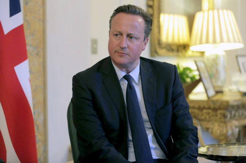 British Prime Minister David Cameron attends a bilateral meeting with New Zealand Prime Minister John Key at the British Embassy in Washington