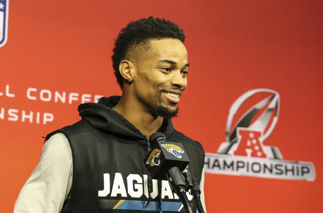 Jacksonville Jaguars cornerback A.J. Bouye speaks with reporters after an NFL football practice in Jacksonville, Fla., Thursday, Jan. 18, 2018. (AP)