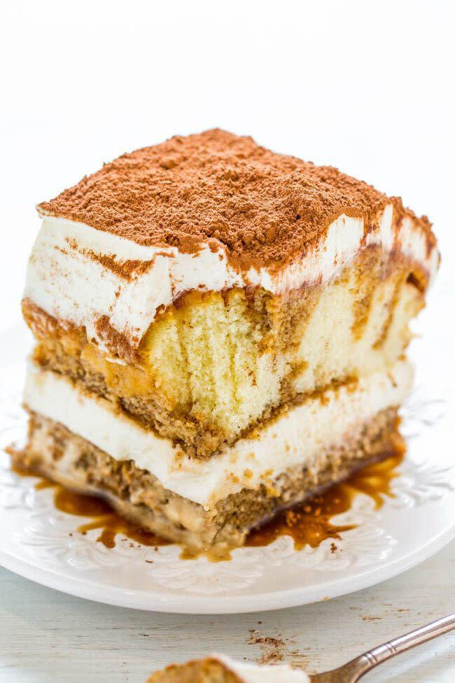 "<strong><a href=""https://www.averiecooks.com/easy-no-bake-tiramisu/"" rel=""nofollow noopener"" target=""_blank"" data-ylk=""slk:Get the Easy No-Bake Tiramisu recipe from Averie Cooks"" class=""link rapid-noclick-resp"">Get the Easy No-Bake Tiramisu recipe from Averie Cooks</a></strong>"