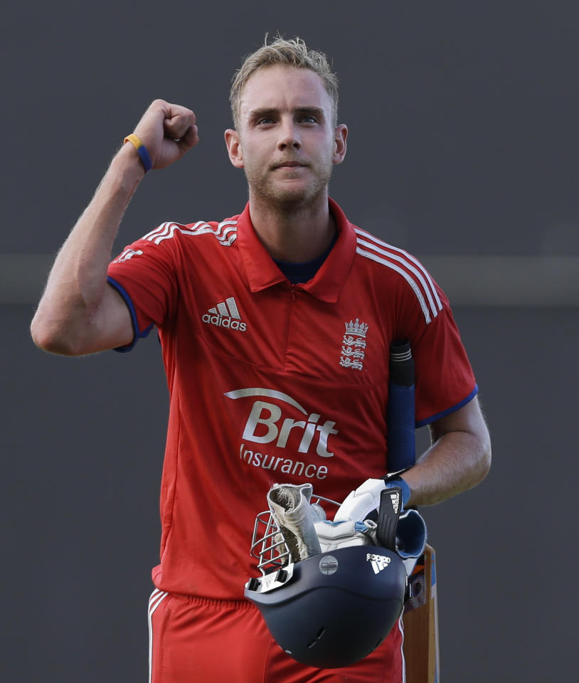 England's captain Stuart Broad celebrates after defeating West Indies by three wickets during their second one-day international cricket match at the Sir Vivian Richards Cricket Ground in St. John's, Antigua, Sunday, March 2, 2014. (AP Photo/Ricardo Mazalan)