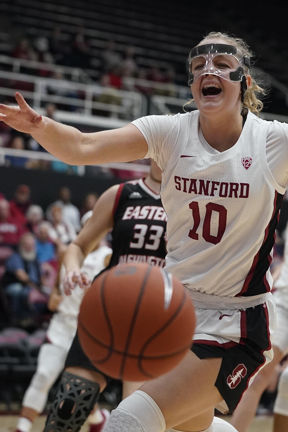Stanford forward Alyssa Jerome (10) reacts after losing the ball out of bounds during the first half of the team's NCAA college basketball game against Eastern Washington on Tuesday, Nov. 5, 2019, in Stanford, Calif. (AP Photo/Tony Avelar)