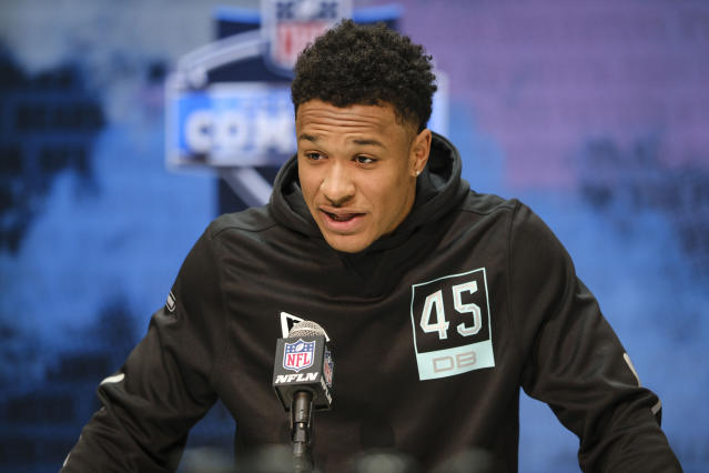 FILE - In this Feb. 28, 2020, file photo, LSU defensive back Grant Delpit speaks during a press conference at the NFL football scouting combine in Indianapolis. Delpit is a possible pick in the NFL Draft which runs Thursday, April 23, 2020, thru Saturday, April 25. (AP Photo/AJ Mast, File)