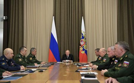 Russia's President Putin chairs a meeting with top officials of the Russian Defence Ministry in Sochi