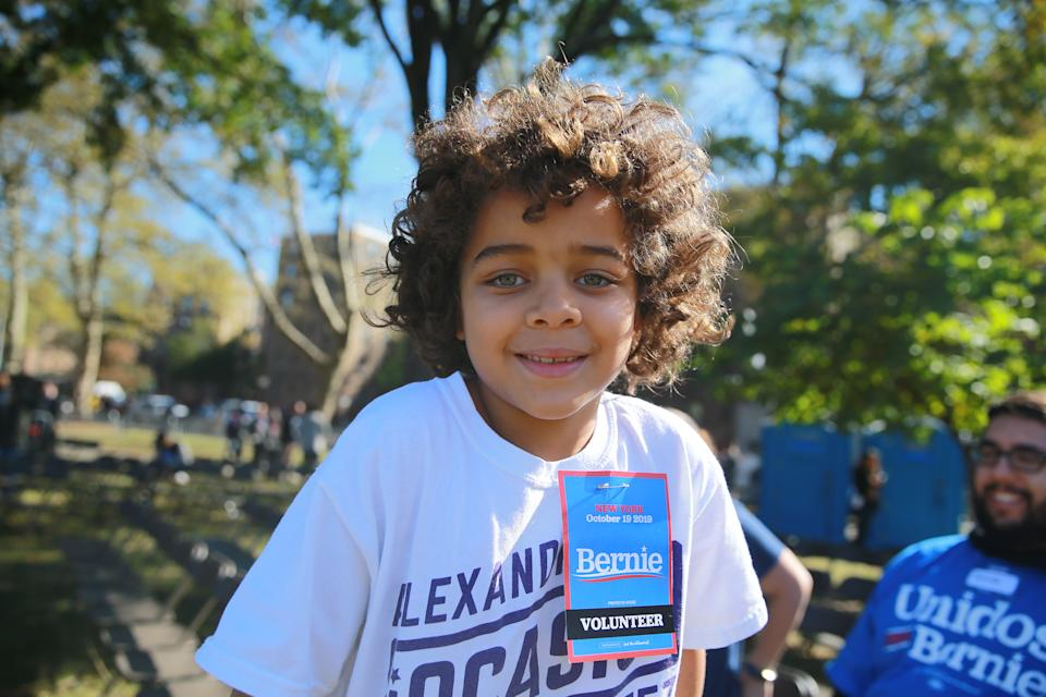 Gabriel from Queens volunteered to help at the Bernie's Back Rally for Democratic presidential candidate Bernie Sanders in Long Island City, New York on Saturday, Oct. 19, 2019. (Photo: Gordon Donovan/Yahoo News)