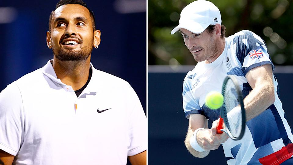 Pictured right, Andy Murray hits a tennis ball and Nick Kyrgios has a laugh during a match.