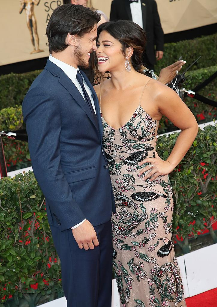 Joe LoCicero and Gina Rodriguez attend the 23rd Annual Screen Actors Guild Awards