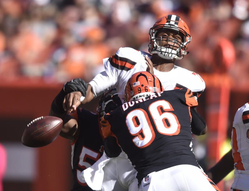 Cleveland Browns quarterback DeShone Kizer loses control of the ball under pressure against the Bengals in Week 4. (AP)