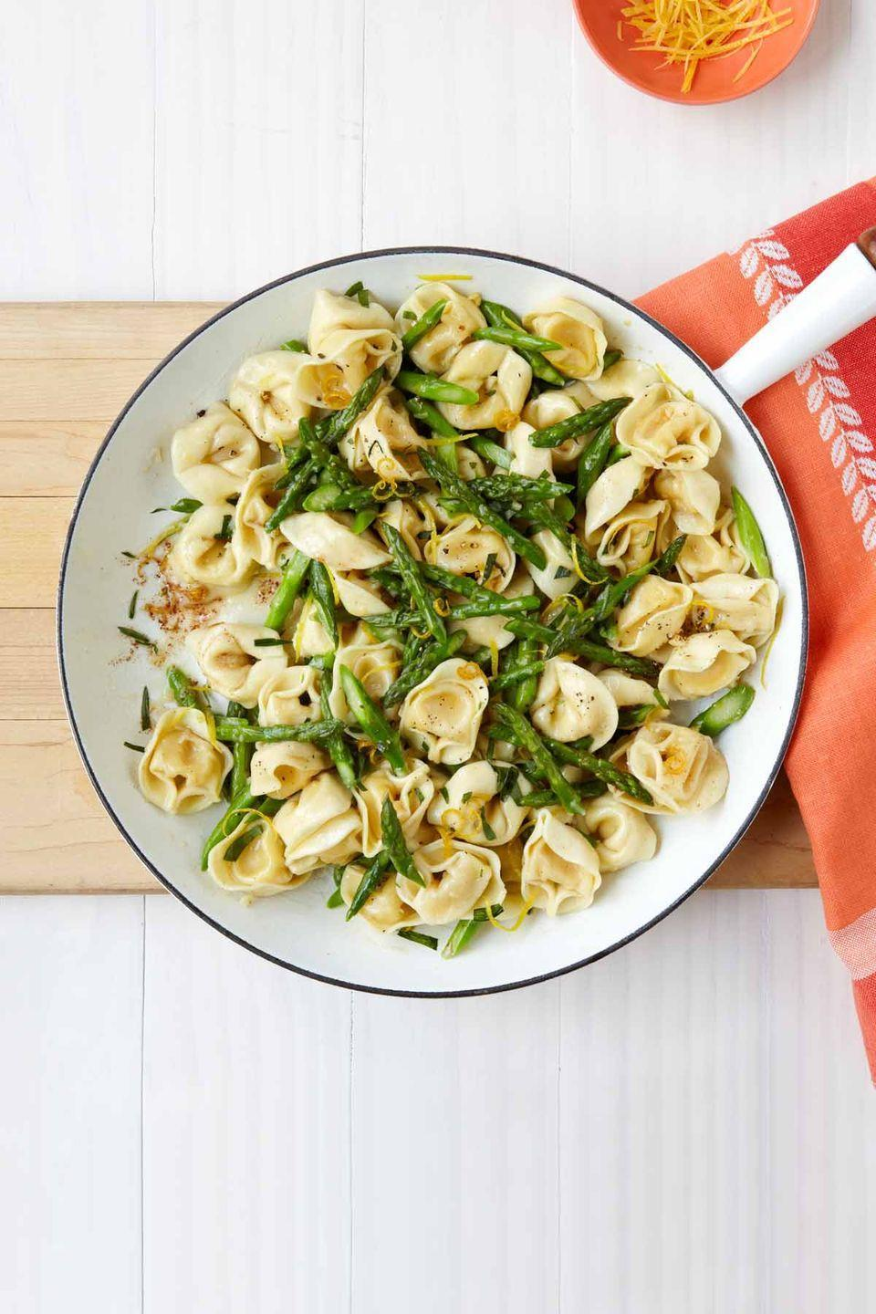 """<p>This light <a href=""""https://www.womansday.com/food-recipes/food-drinks/g2324/pasta-recipes/"""" rel=""""nofollow noopener"""" target=""""_blank"""" data-ylk=""""slk:spring pasta"""" class=""""link rapid-noclick-resp"""">spring pasta</a> will satisfy Mom's craving for Italian, thanks to the rich flavors of brown butter and toasted garlic. </p><p><em><a href=""""https://www.womansday.com/food-recipes/food-drinks/recipes/a12039/brown-butter-tortellini-toasted-garlic-asparagus-recipe-wdy0513/"""" rel=""""nofollow noopener"""" target=""""_blank"""" data-ylk=""""slk:Get the recipe for Brown Butter Tortellini."""" class=""""link rapid-noclick-resp"""">Get the recipe for Brown Butter Tortellini.</a></em></p>"""