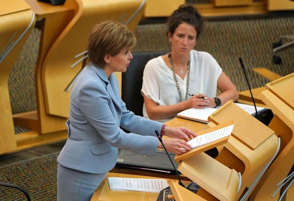 First Minister Nicola Sturgeon addresses the Scottish Parliament (Andrew Milligan/PA) (PA Wire)