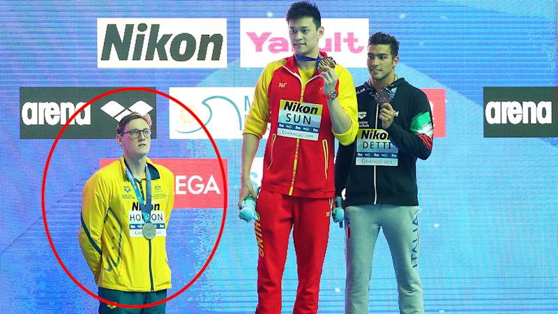 Mack Horton refused to stand on the podium with Sun Yang after the 400m final. (Photo by Maddie Meyer/Getty Images)