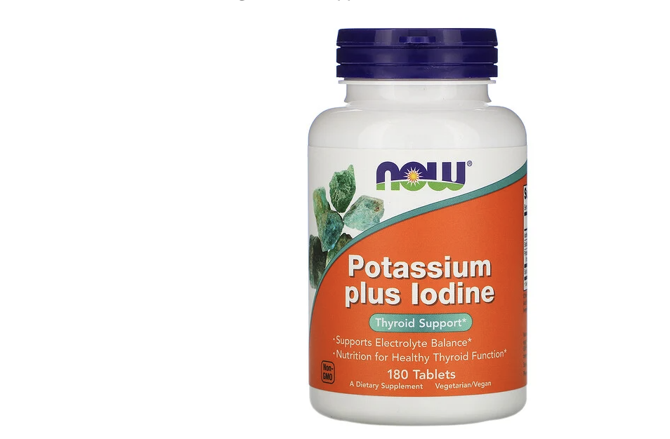 Now Foods, Potassium Plus Iodine, 180 Tablets. (PHOTO: iHerb Singapore)