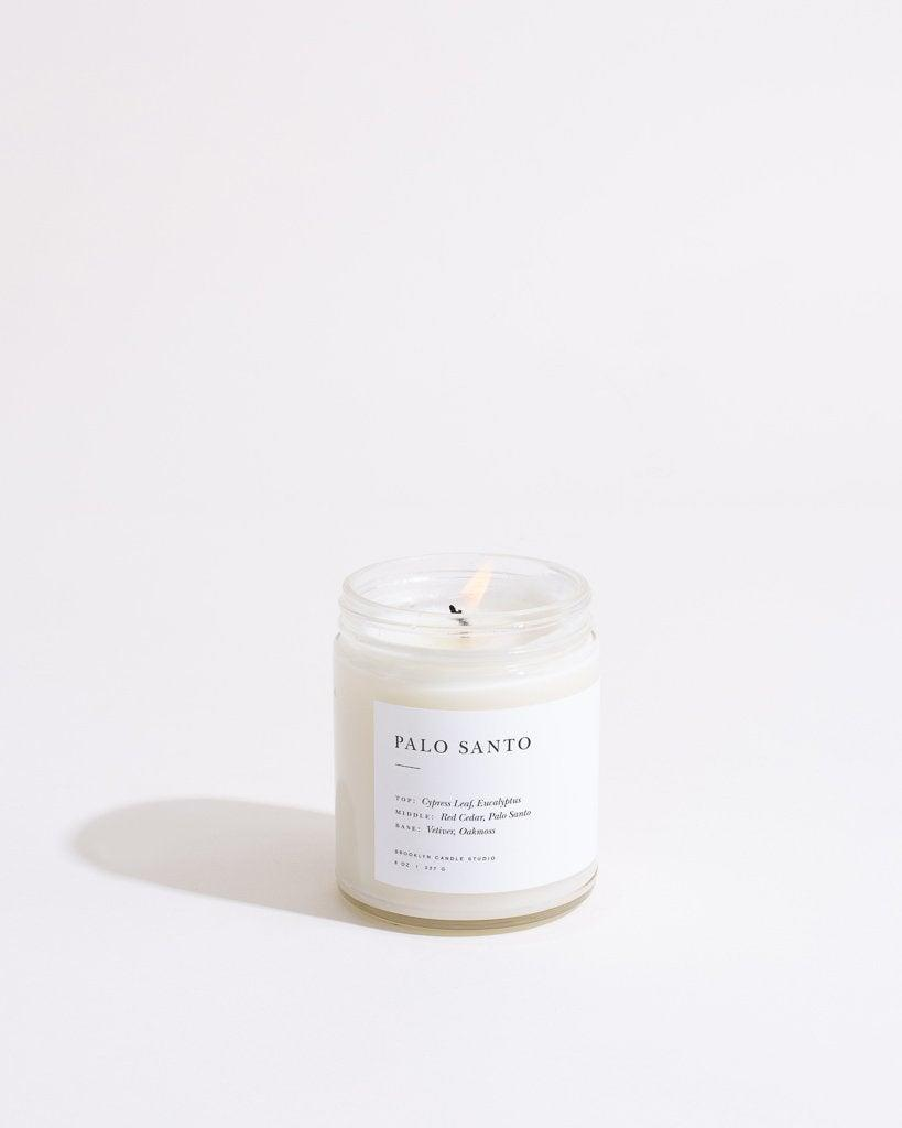 "<h2>Brooklyn Candle Studio Palo Santo Minimalist Candle</h2><br><strong>Notes:</strong> Palo Santo<br><strong>Made From:</strong> 100% soy <br><br><strong><em><a href=""https://fave.co/33Z1KSk"" rel=""nofollow noopener"" target=""_blank"" data-ylk=""slk:Shop Brooklyn Candle Studio"" class=""link rapid-noclick-resp"">Shop Brooklyn Candle Studio</a></em></strong> <br><br><strong>Brooklyn Candle Studio</strong> Palo Santo Minimalist Candle, $, available at <a href=""https://go.skimresources.com/?id=30283X879131&url=https%3A%2F%2Ffave.co%2F33Z1KSk"" rel=""nofollow noopener"" target=""_blank"" data-ylk=""slk:Brooklyn Candle Studio"" class=""link rapid-noclick-resp"">Brooklyn Candle Studio</a>"