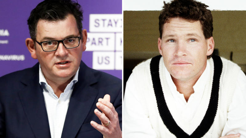 Daniel Andrews and Dean Jones, pictured here before the Aussie cricket legend's death.