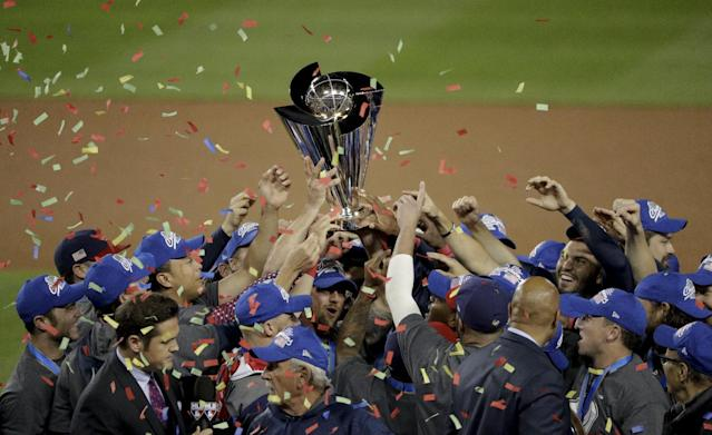 <p>The U.S. team celebrates an 8-0 win over Puerto Rico in the final of the World Baseball Classic in Los Angeles, Wednesday, March 22, 2017. (AP Photo/Jae C. Hong) </p>
