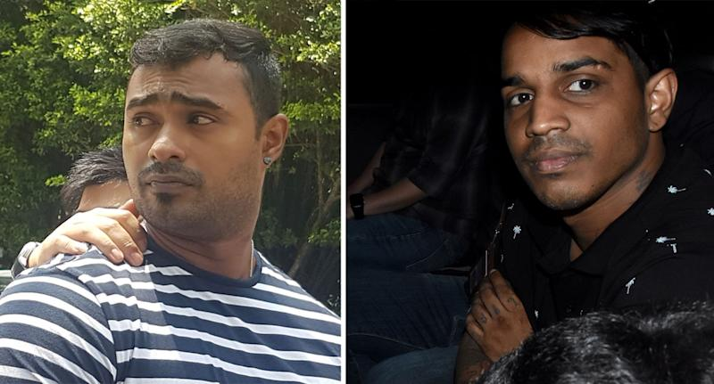Arjun Retnavelu, 24, (left) and Dinesh Kumar Ruvy, 28, allegedly took part in the group assault on 25 July last year. (Yahoo News Singapore file photos)
