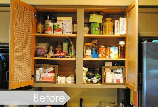 """<p>With no pantry, this <a href=""""http://www.jennaburger.com/2013/11/kitchen-organization-ideas-for-the-inside-of-the-cabinet-doors/"""" rel=""""nofollow noopener"""" target=""""_blank"""" data-ylk=""""slk:blogger"""" class=""""link rapid-noclick-resp"""">blogger</a> was forced to use her largest cabinet for food storage. As a result, things often got forgotten at the top.</p>"""
