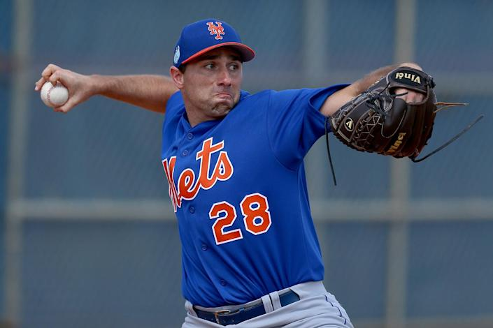 <p>New York Mets pitching prospect Mickey Jannis throws in the bullpen during workouts at the New York Mets spring training facility in Port St. Lucie, Fla., Monday, Feb. 27, 2017. (Gordon Donovan/Yahoo Sports) </p>