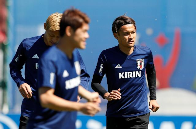 Soccer Football - World Cup - Japan Training - Japan Training Camp, Kazan, Russia - June 17, 2018 Japan's Takashi Usami during training REUTERS/John Sibley