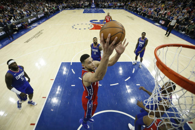 Philadelphia 76ers' Ben Simmons goes up for a shot during the first half of an NBA basketball game against the Los Angeles Clippers, Tuesday, Feb. 11, 2020, in Philadelphia. (AP Photo/Matt Slocum)