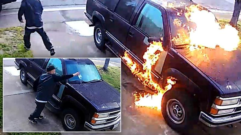 Cops Search for Alleged Arsonist Seen Dousing SUV in Accelerant, Setting It on Fire