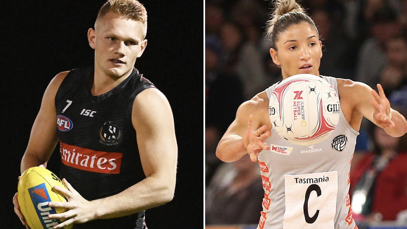 Adam Treloar and Kim Ravaillion, pictured here in action in the AFL and Super Netball