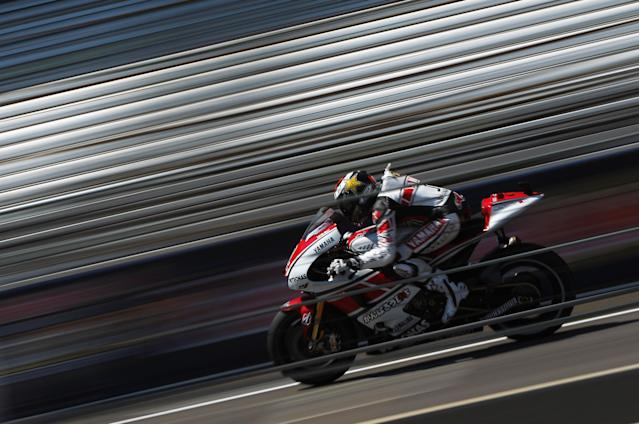 INDIANAPOLIS, IN - AUGUST 27: Jorge Lorenzo #1 of Spain in action during Moto GP qualifying at Indianapolis Motorspeedway on August 27, 2011 in Indianapolis, Indiana. (Photo by Jamie Squire/Getty Images)