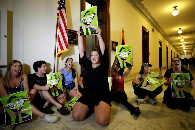 <p>Healthcare activists protest to stop the Republican health care bill at Russell Senate Office Building on Capitol Hill in Washington, July 10, 2017. (Photo: Yuri Gripas/Reuters) </p>