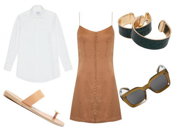 With Nothing Underneath the linen poplin: £80, Ancient Greek Sandals Thalia coin-embellished leather sandals: £145, Eleanor Balfour dress: £595, Topshop hoop earrings: £10.15, H&M sunglasses: £8.99
