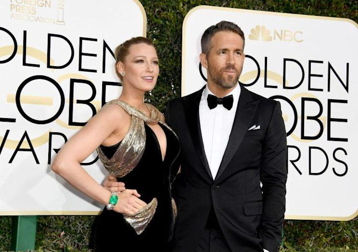 Ryan Reynolds arrived with wife Blake Lively at the 2017 Golden Globes [Photo: Getty]