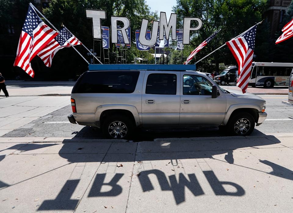 A vehicle is shown supporting Republican presidential candidate Donald Trump at the University of Michigan in Ann Arbor, Mich. on Sept. 13, 2016.