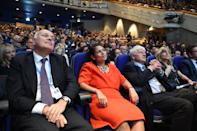 (L-R) Conservative MP's Iain Duncan Smith and Priti Patel, Boris Johnson's father Stanley Johnson and sister Rachel Johnson listen as British Conservative Party politician Boris Johnson gives a speech during a fringe event on the sidelines of the third day of the Conservative Party Conference 2018 at the International Convention Centre in Birmingham, on October 2, 2018. (Photo by Oli SCARFF / AFP) (Photo credit should read OLI SCARFF/AFP via Getty Images)