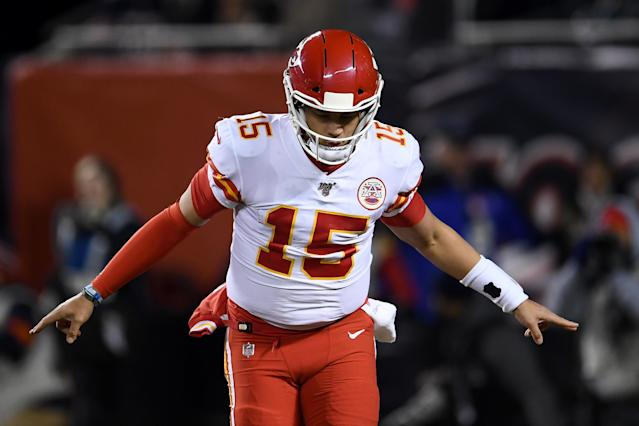 Patrick Mahomes lit up the Bears and delivered a Mitchell Trubisky-related message in the process. (Photo by Stacy Revere/Getty Images)