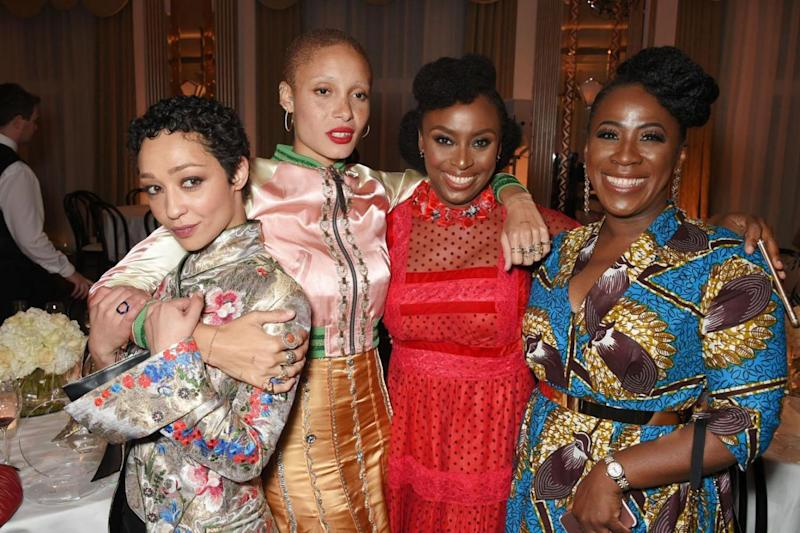(L-R) Ruth Negga, Adwoa Aboah, Chimamanda Ngozi Adichie and guest attend Harper's Bazaar Women of the Year Awards (Dave Benett)
