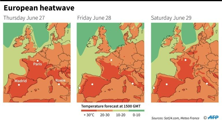 Forecast temperatures in western Europe at 1500 GMT on June 27 to 29 (AFP Photo/)