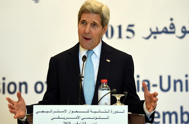 US Secretary of State John Kerry speaks during a press conference with his Tunisian counterpart Taieb Baccouche, on November 13, 2015 at the foreign ministry in Tunis