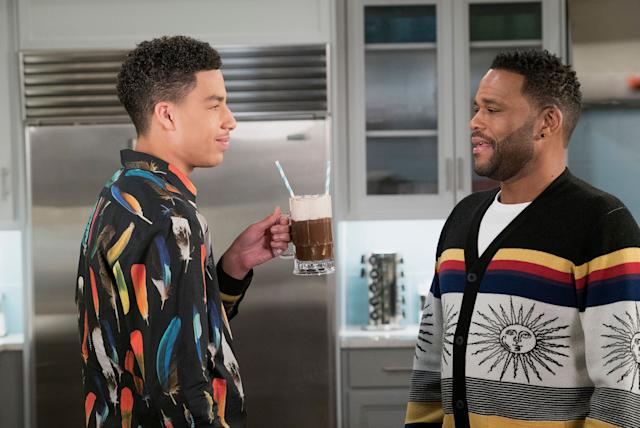 Junior (Marcus Scribner) and Dre (Anthony Anderson), pictured in another episode, debated the merits of NFL players kneeling during the national anthem during a recently shelved episode.