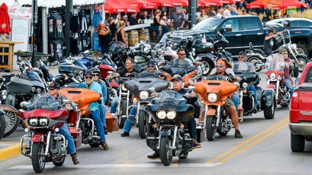 PHOTO: Motorcyclists ride down Main Street a day before the start of the Sturgis Motorcycle Rally in Sturgis, S.D., Aug. 6, 2020. (Michael Ciaglo/Getty Images, FILE)