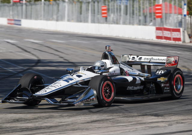 Simon Pagenaud of France drives during practice sessions ahead of qualifying at the 2019 Honda Indy Toronto, in Toronto, Saturday, July 13, 2019. (Mark Blinch/The Canadian Press via AP)