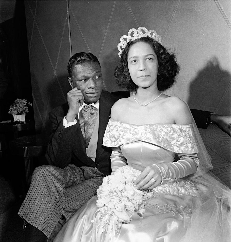 <p>Famed jazz singer Nat King Cole met Maria Hawkins Ellington when she was working as a singer in Duke Ellington's band. The couple tied the knot in Harlem, New York City on Easter Sunday — just a week after Cole's divorce from his first marriage was finalized. </p>