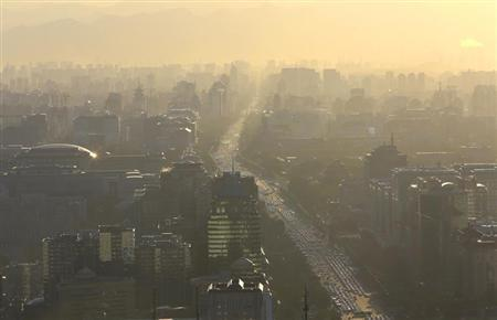 Vehicles are seen on Chang'an Avenue at the rush hour in Beijing