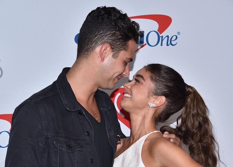 US actress Sarah Hyland and boyfriend Wells Adams arrive in the press room for the iHeartRadio Music Festival in Las Vegas, Nevada on September 21, 2018. (Photo by CHRIS DELMAS / AFP) (Photo credit should read CHRIS DELMAS/AFP via Getty Images)