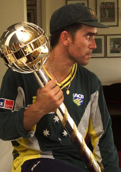 4 Jul 2001:  Justin Langer of Australia holds the trophy presented to the Australian team as World Champions of test cricket, at Edgbaston, Birmingham, England.  DIGITAL IMAGE  Mandatory Credit: Hamish Blair/ALLSPORT