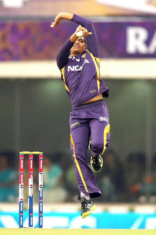 Sunil Narine of Kolkata Knight Riders sends down a delivery during match 60 of the Pepsi Indian Premier League between The Kolkata Knight Riders and the Royal Challengers Bangalore held at the JSCA International Stadium Complex, Ranchi, India on the 12th May 2013. (BCCI)