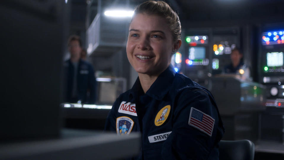 Astronaut Tracy Stevens smiles at the camera in For All Mankind