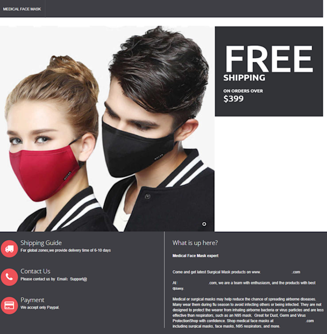 Website selling discounted face masks (Source: Digital Shadows)