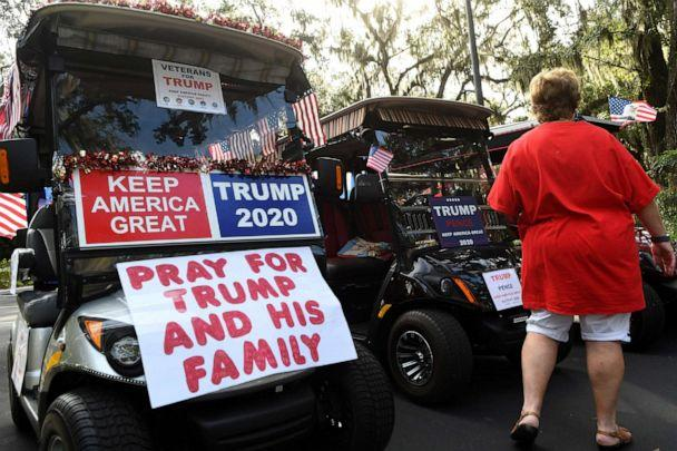 PHOTO: Residents queue up to participate in a golf cart parade in support of the re-election of President Donald Trump, Oct. 3, 2020, in The Villages, Florida, a retirement community north of Orlando. (Paul Hennessy/NurPhoto via Getty Images, FILE)