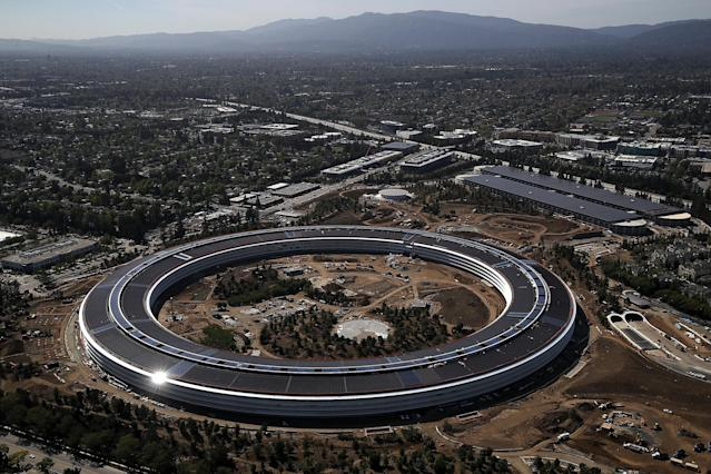An aerial view of the new Apple headquarters (Photo by Justin Sullivan/Getty Images)