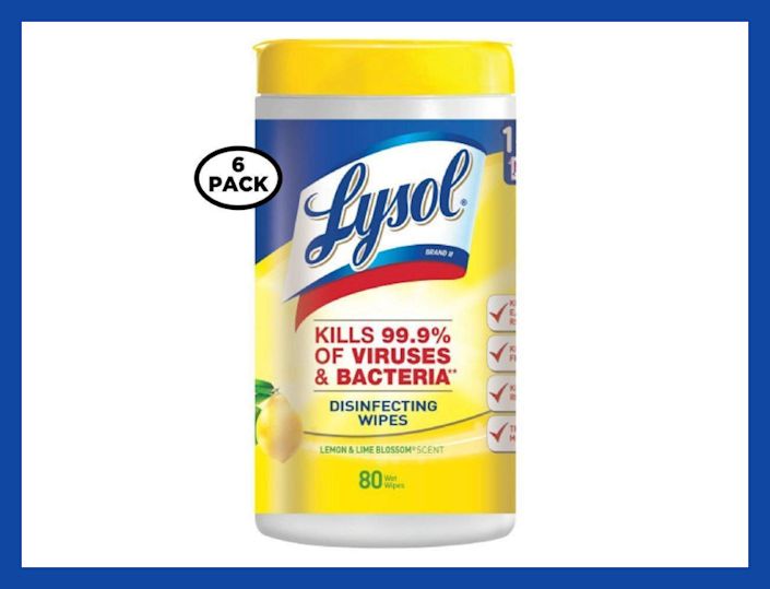 Lysol Disinfecting Wipes, Lemon and Lime Blossom, 80-count (six-pack). (Photo: Amazon)
