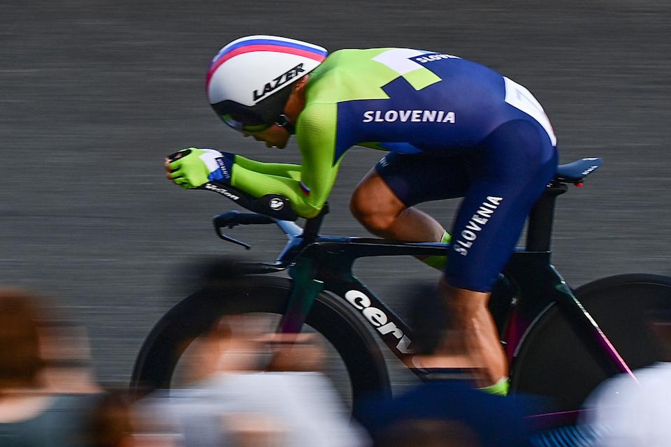 Slovenia's Primoz Roglic competes in the men's cycling road individual time trial during the Tokyo 2020 Olympic Games at the Fuji International Speedway in Oyama, Japan, on July 28, 2021. (Photo by Ina FASSBENDER / AFP) (Photo by INA FASSBENDER/AFP via Getty Images)