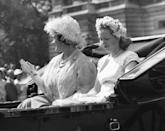 <p>Riding in a carriage for the Trooping of the Colour ceremony in June with her grandmother, The Queen Mother. </p>